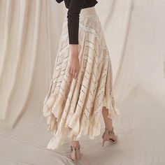 Asymmetrical Pleated Ladies Lace Skirt – Nads Shoes Lace Skirt, Lace Dress, Street Wear, Kimono Top, Lady, Skirts, Pattern, Cotton, Clothes