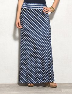 Blue Tie-Dye Stripe Maxi Skirt