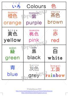 Colour charts in Japanese $1 for 48 hours Uses: Colour reference list poster Colour grid for alphabet patterns (romanji, hiragana, kanji etc)