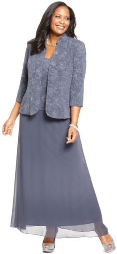 Alex Evenings Plus Size Patterned Sparkle Dress And Jacket in Purple (Gunmetal)