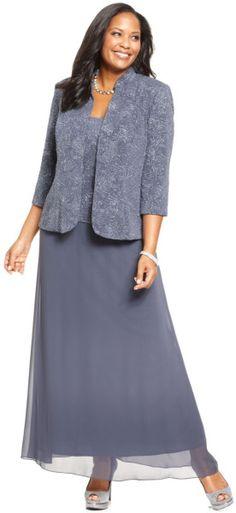 Alex Evenings Plus Size Patterned Sparkle Dress And Jacket in Purple (Gunmetal)