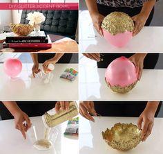DIY Decorative Glitter Bowl.