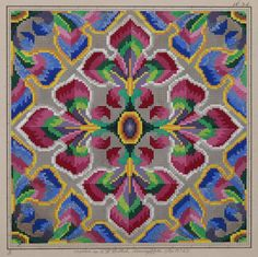ANTIQUE HAND PAINTED BERLIN WOOLWORK EMBROIDERY PATTERN 2 - GEOMETRIC / IRIS