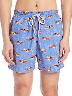 Saks Fifth Avenue Collection Show Boat Swim Trunks - Blue - Size