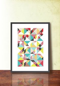 Mid Century Modern Abstract Poster, Geometric Art Print A3, Scandinavian design inspired. Geometric Art. Tangram Wall Decor, TANGRAMartworks...