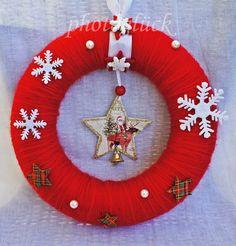 """Weihnachtskranz Türkranz """"Weihnachtsmann"""" von PHOTOGLÜCK auf DaWanda.com"""