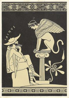 """Ancient Greek pottery, Oedipus  the Sphinx. (Oedipus: """"O mighty Sphinx, give me some advice, that I'm not going to follow."""" Sphinx: """"Dude, you have some kind of complex.."""")"""