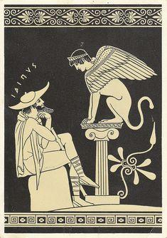 Edipo y la esfinge. Vasija griega / oedipus, sphinx, greek, myth, sofocles