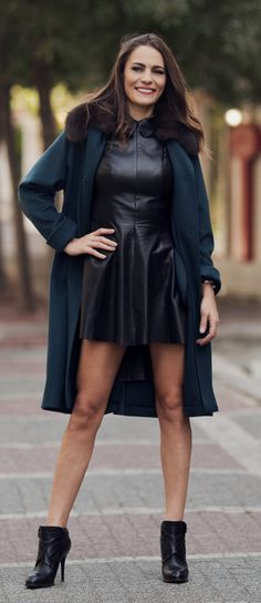 Leather dress and cashmere coat by ADAMOFUR #leather #dress #style #fur #furfashion #coat #cozy #chic #winter #streetsyle