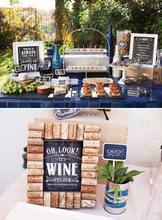 Cute ideas for a wine and cheese shin-dig