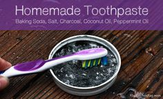 Homemade Tooth Paste Recipe C baking soda, 1 t of Himalayan Sea salt, 1 t activated charcoal, 1 t coconut oil, drops peppermint essential oil Toothpaste Recipe, Homemade Toothpaste, Homemade Soaps, Cure Tooth Decay, Tooth Powder, Homemade Beauty Products, Diy Products, Beauty Recipe, Oral Health