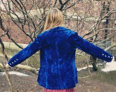 Vintage Electric Blue Velvet Coat