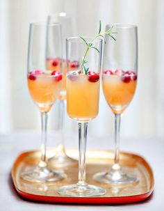 Pomegrante Ginger Champagne 3 cups pomegranate juice 3 tablespoon sugar 2 inches of fresh ginger, peeled and sliced into thin rounds 1 1/2 cup fresh-squeezed orange juice Delamotte Champagne, or Cono Sur Brut sparkling white wine
