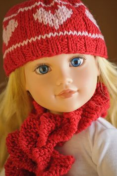 AG Doll knit hat with hearts