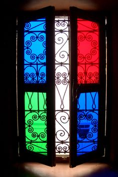 Brightly colored glass window