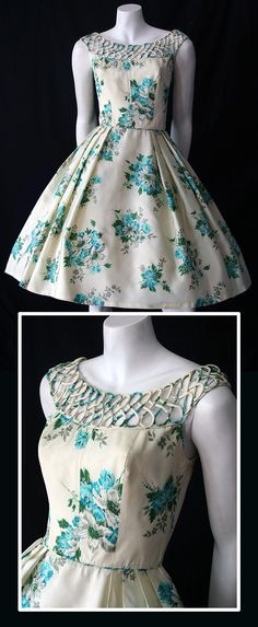 1950s floral taffeta dress