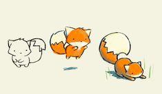 짧은 선으로 여우의 특징을 어느정도 잘 잡은 것 같다. 색을 더하니까 훨씬 보기좋다.
