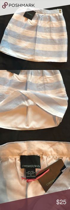 Linen Skirt New with tags! Blue and white stripped linen skirt. The tag inside has come unstitched but can easily removed or tacked back. Cynthia Rowley Skirts