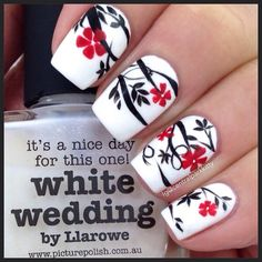 """""""I love the Google. You just type in """"flowers"""", or some such thing, and you get a million idears! Well, here's one. White Wedding from @picturepolish topped with some handpainted vines and flowers done with @mundodeunas red & black and (per usual) my magic @winstonia_store brush. Winnie is her name #picturepolish"""" Photo taken by @centralparkkitty on Instagram, pinned via the InstaPin iOS App! http://www.instapinapp.com (03/08/2015)"""
