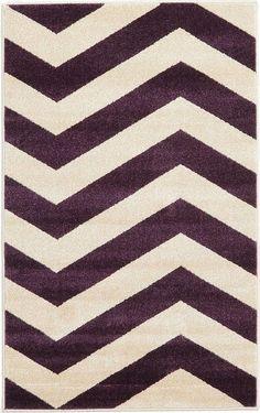 Chevron Purple/Cream Area Rug