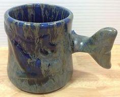 Aquatics - Whale-Dolphin-Mug-Figural-Handle-Stoneware-TAIL-INSIDE-Ocean-Theme-Art-Pottery