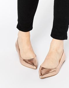Image 1 of Oasis Metallic Pointed Flat Shoes