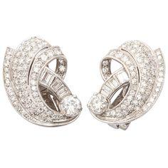 Retro Diamond And Platinum Shrimp Style  Earclips   1stdibs.com