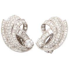 Retro Diamond And Platinum Shrimp Style  Earclips | 1stdibs.com