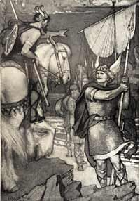 Beowulf is challenged by a Danish coast guard, Evelyn Paul (1911).