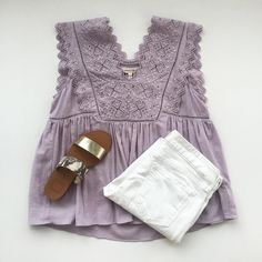 shopems[em]broidered lilac linen top $295 + white denim $178 + metallic flats $107.