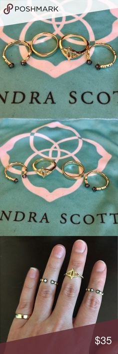 """🎉HP 🎉 Kendra Scott Midi Rings EUC 🎉HP """"Best in jewelry & accessories"""" 🎉 Set of 4 rings. Very gently used. Kendra Scott sizes them at approximately 3-4. 2 of the 4 are open style and adjustable. Dustbag included. Kendra Scott Jewelry Rings"""
