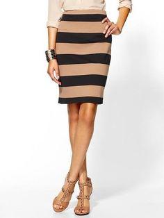 Tinley Road Striped Ponte Pencil Skirt