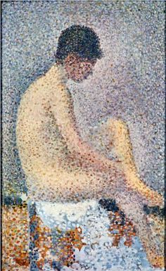 """Model in Profile"" by Georges Seurat, c. 1886. The french artist is noted for devising the painting techniques known as chromoluminarism and pointillism. (1859-1891)"