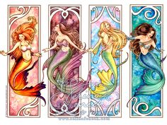 like the nuveau style mermaids