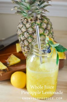 Try this refreshing and delicious Pineapple Lemonade Recipe made with Whole Fruit Juice. Perfect Summer Drink Recipe! Vegan Juice Goodness