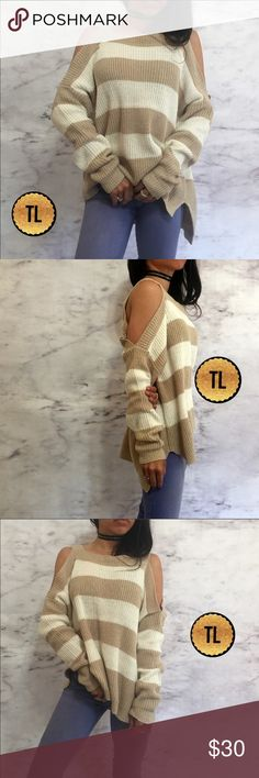 """Lush stripes kicks shoulder heavy knit sweater •brand new •ships tomorrow •brand : TIMELESS look boutique •no trades •true to size •material: 60% cotton 40% acrylic •colors: khaki / white nautical horizontal stripes Model: goguios in insta 📸 (account manager) modeling small Please visit """"Closet Rules"""" for more info about us :) Sweaters Crew & Scoop Necks"""