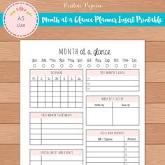 A5 Month at a Glance Monthly Planner Insert Printable | Fits Kikki K Large & Filofax A5 INSTANT DOWNLOAD