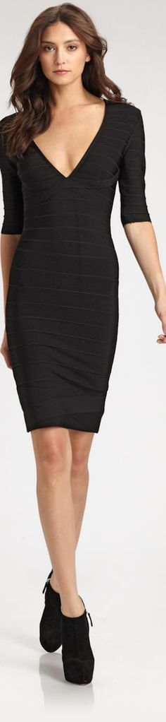 Simple black dress - you can do so much to dress this number up from season to season. Herve Leger