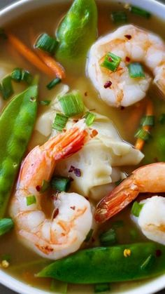 Shrimp Wonton Soup ~ delicious, easy, and healthy with only 110 calories for a huge serving!