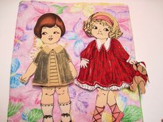 Fabric paper doll set of 2 dolls with playbook by KellettKreations