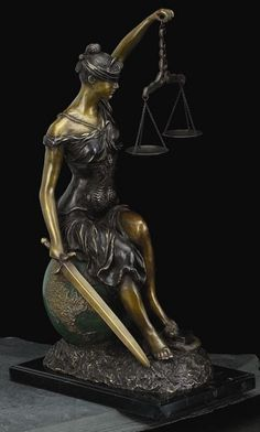 Seated On The World Lady Justice Bronze Sculpture on Marble Base T.P.