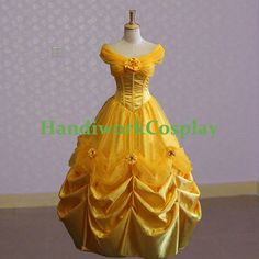 Beauty and the Beast Cosplay Belle Evening Gown Dress, Disney Princess Belle Cosplay Costume Custom Any Size For adult,Kids And Plus Size on Etsy, $108.00