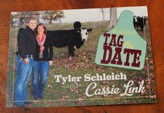 Our Tag the Dates! Photos by Ericandi. Cards by Ranch House Designs Country Engagement, Wedding Engagement, Our Wedding, Dream Wedding, Wedding Stuff, Wedding 2015, Engagement Pictures, Wedding Pictures, Engagement Ideas