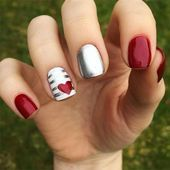 35 Pretty Nail Art Designs for Valentine's Day 2019 Uñas Acrilicas 💅 Holiday Nail Designs, Holiday Nails, Nail Art Designs, Nails Design, Christmas Nails, Valentine Nail Designs, White Christmas, Gel Nail Art, Acrylic Nails