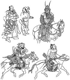 mongol warriors Mongolia Asia xiii xiv chinese drawings genghis khan