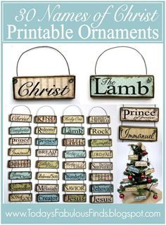 Printable Paint Stick Ornaments: Names of Christ. 30 names of Christ and 14 attributes of Christ. Christmas Tree Ornaments, Christmas Holidays, Christmas Decorations, Ornaments Ideas, Clear Ornaments, Xmas, Nativity Ornaments, Christmas Jesus, Christmas Nativity