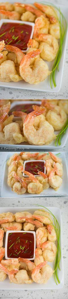 Spicy Camaron Rebosado (Deep Fried Beer Battered Shrimp) - Panlasang Pinoy