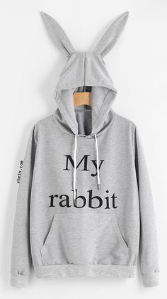 I'm a rabbit! Cute Shirts, Hooded Sweatshirts, Pretty Outfits, Cute Outfits, Casual Outfits, Fashion Outfits, Rabbit Ears, Slogan, Hoods