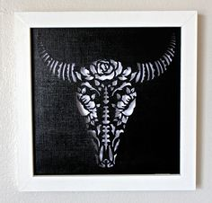 Framed Day Of the Dead Bull Skull Cut Paper Wall Art by hvansick