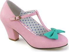 Pin Up Couture Shoes - WIGGLE-50 Pink-Teal Faux Leather